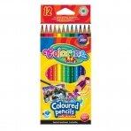 Spalvoti pieštukai, akvareliniai,su teptuku COLORINO, 12 spalvų