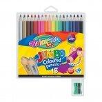 Spalvoti pieštukai, dideli, apvalūs Colorino Kids Jumbo 18 spalvų su drožtuku