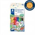 Spalvoti pieštukai, ištrinami, su trintuku STAEDTLER NORIS CLUB, 12 spalvų