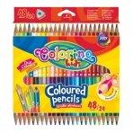 Spalvoti pieštukai, tribriauniai, dvipusiai Colorino Kids, 24vnt./48 spalvų