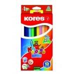 Spalvoti trikampiai pieštukai KORES JUMBO, 12 spalvų su drožtuku