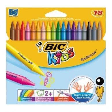 Spalvotos kreidelės BIC Plastidecor, 18 spalvų