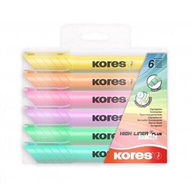 Teksto žymeklis KORES HIGH LINER PLUS, 6 pastelinės spalvos
