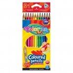 Tribriauniai spalvoti pieštukai Colorino Kids, 12 spalvų+1(aukso/sidabro sp.)