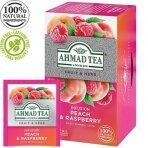 """Vaisių ir žolelių arbatos mišinys AHMAD """"Persikų ir aviečių"""", 20 arbatos maišelių folijoje"""