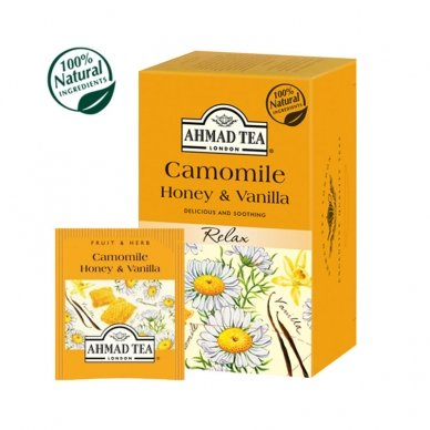 Vaisių ir žolelių arbata AHMAD Camomile Honey & Vanilla, 20 arbatos pakelių x 2 g