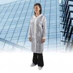 Vienkartinis kostiumas su Velcro užsegimu, polipropileninis, XL dydis, balta sp., 5 vnt./pak.
