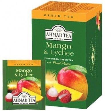 Žalioji arbata AHMAD Alu Mango & Lychee, 20 arbatos pakelių x 2 g